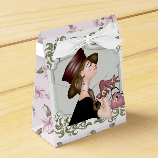 HEAD MODEL CARTOON Tent with Ribbon Favour Box 2 Wedding Favor Boxes