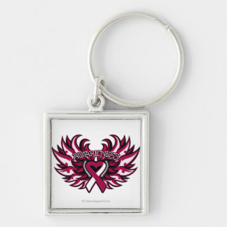 Head Neck Cancer Awareness Heart Wings.png Silver-Colored Square Keychain