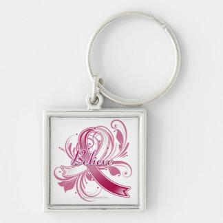Head Neck Cancer Believe Flourish Ribbon Silver-Colored Square Keychain