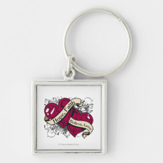 Head Neck Cancer Hope Faith Dual Hearts Silver-Colored Square Keychain
