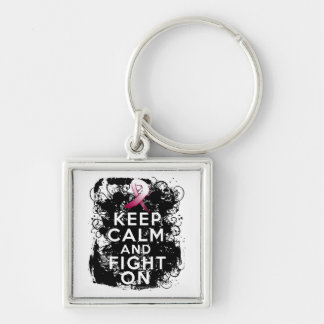 Head Neck Cancer Keep Calm and Fight On Silver-Colored Square Keychain
