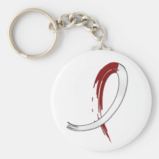 Head Neck Cancer's Burgungy and White Ribbon A4 Basic Round Button Keychain