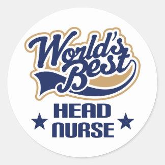 Head Nurse Gift Round Sticker