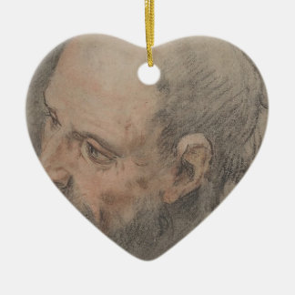 Head of a Bearded Man Looking Left Ceramic Ornament