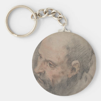 Head of a Bearded Man Looking Left Keychain