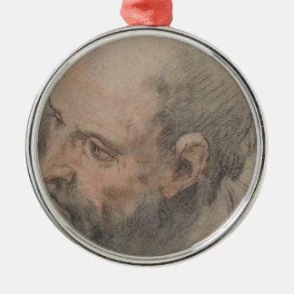 Head of a Bearded Man Looking Left Metal Ornament