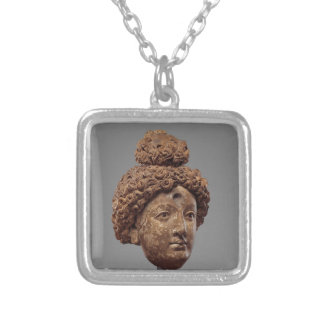 Head of a Buddha or Bodhisattva Silver Plated Necklace