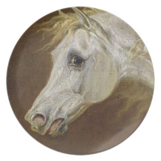 Head of a Grey Arabian Horse (oil on canvas on pan Party Plates