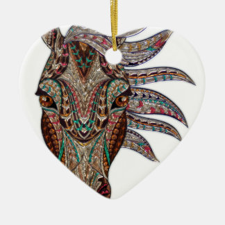 Head of a horse painted on glass like art ceramic heart ornament