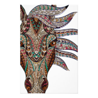 Head of a horse painted on glass like art stationery design
