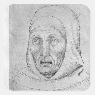 Head of a monk, from the The Vallardi Album Square Sticker