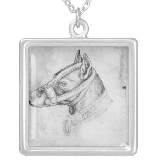 Head of a muzzled dog silver plated necklace