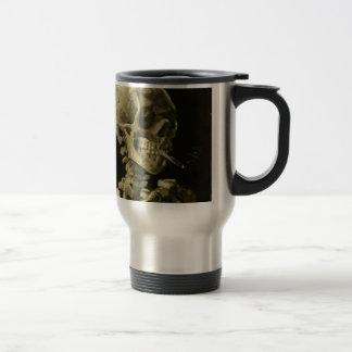 Head of a skeleton travel mug