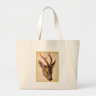 Head of a Stag by Albrecht Durer Large Tote Bag