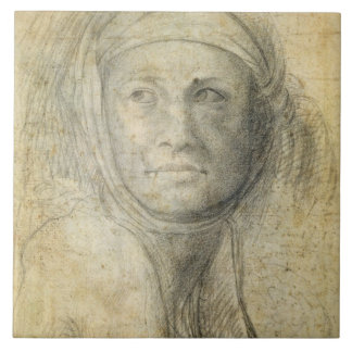 Head of a Woman (pencil on paper) Tile