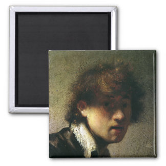 Head of a Young Man or Self Portrait, 1629 Square Magnet