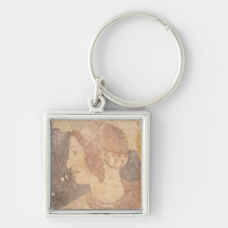 Head of a Young Woman, Velia Silver-Colored Square Keychain