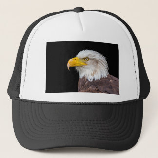 Head of bald eagle on black trucker hat