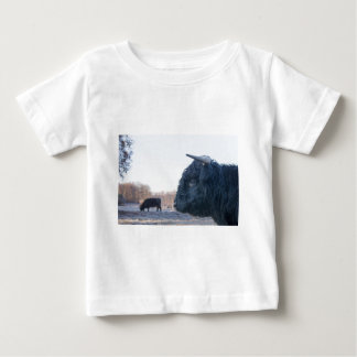 Head of black bull scottish highlander with cow baby T-Shirt
