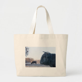Head of black bull scottish highlander with cow large tote bag