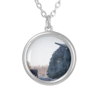 Head of black bull scottish highlander with cow silver plated necklace