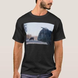 Head of black bull scottish highlander with cow T-Shirt