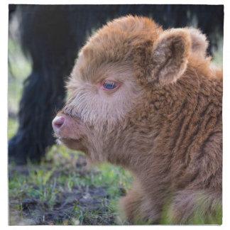 Head of Brown newborn scottish highlander calf Cloth Napkin
