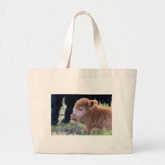 Head of Brown newborn scottish highlander calf Large Tote Bag