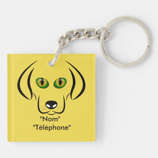 Head of dog to the cats eyes Double-Sided square acrylic keychain