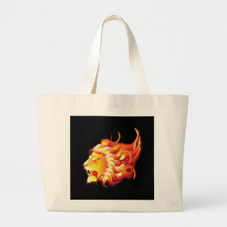 Head of fire lion large tote bag