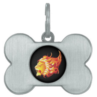 Head of fire lion pet name tag