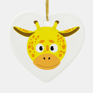 Head of Giraffe Ceramic Heart Ornament