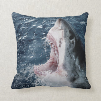Head of Great White Shark Throw Pillow