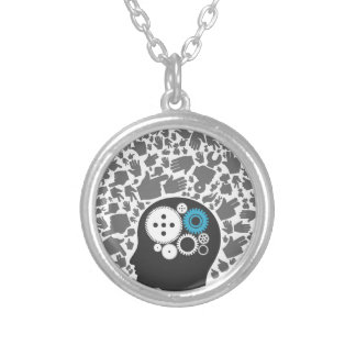 Head of hands silver plated necklace