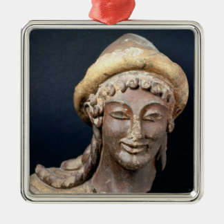 Head of Hermes wearing a pilos Silver-Colored Square Ornament