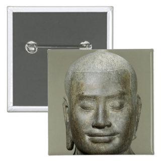 Head of King Jayavarman VII 2 Inch Square Button