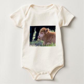 Head of lying Brown newborn scottish highlander Baby Bodysuit