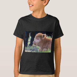 Head of lying Brown newborn scottish highlander T-Shirt