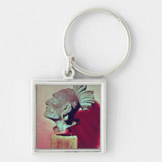 Head of Squanto Silver-Colored Square Keychain