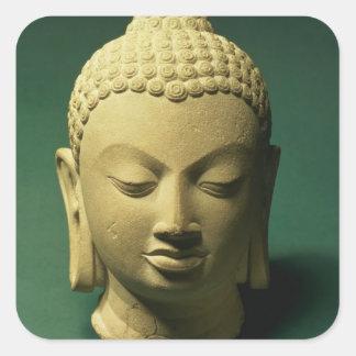 Head of the Buddha, Sarnath (sandstone) Square Sticker