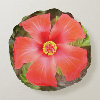 Head On Shot of a Red Tropical Hibiscus Flower Round Pillow