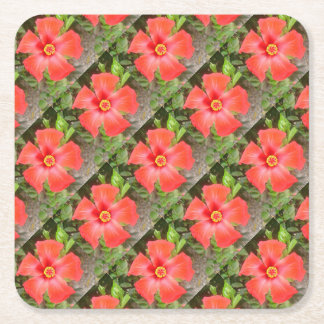 Head On Shot of a Red Tropical Hibiscus Flower Square Paper Coaster