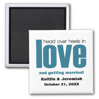 Head Over Heels Save the Date Magnet, Blue