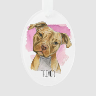 Head Tilt Dog Watercolor Painting | Add Your Name Ornament