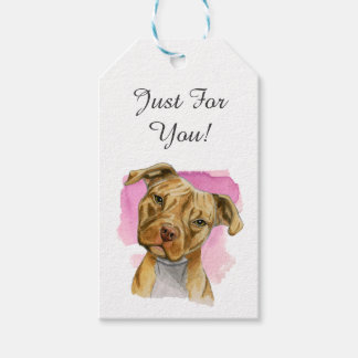 Head Tilt Pit Bull Dog Watercolor Painting Gift Tags