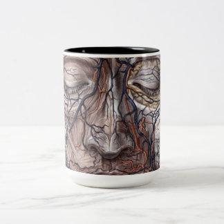 Head Veins and Muscles Two-Tone Coffee Mug