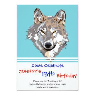 Head wolf - wolf illustration - american wolf card