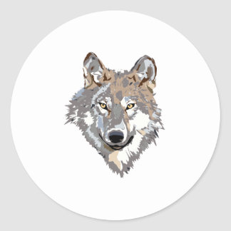 Head wolf - wolf illustration - american wolf classic round sticker