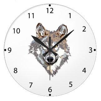 Head wolf - wolf illustration - american wolf large clock