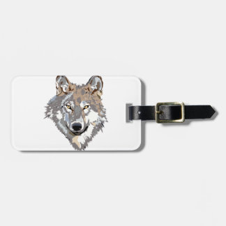 Head wolf - wolf illustration - american wolf luggage tag